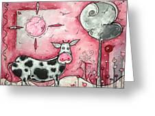I Love Moo Original Madart Painting Greeting Card by Megan Duncanson