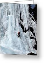 Ice Climbing In The Adirondack Mountains Of New York At Pok-o-moonshine Cliff Greeting Card by Brendan Reals