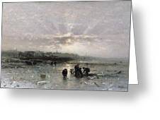 Ice Fishing Greeting Card by Ludwig Munthe