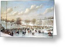 Ice Skating, 1865 Greeting Card by Granger