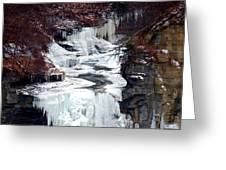 Icy Waterfalls Greeting Card by Paul Ge