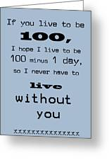 If You Live To Be 100 - Blue Greeting Card by Nomad Art And  Design