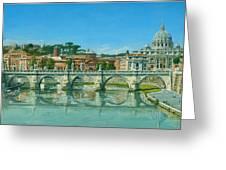 Il Fiumi Tevere Roma Greeting Card by Richard Harpum