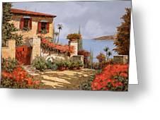Il Giardino Rosso Greeting Card by Guido Borelli