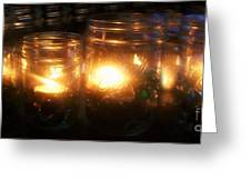 Illuminated Mason Jars Greeting Card by Christy Beal