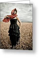 In Mourning Red Greeting Card by Olga Leszczynska