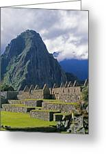 Inca Structures Stand Below Mount Greeting Card by Gordon Wiltsie