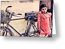Indian Boy With Cycle Greeting Card by Parikshat sharma