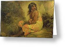 Indian Girl Greeting Card by George Morland