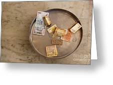 Indian Money In A Dish Greeting Card by Inti St. Clair