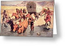 Indians Attacking A Pioneer Wagon Train Greeting Card by Frederic Remington