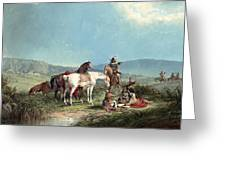 Indians Playing Cards Greeting Card by John Mix Stanley