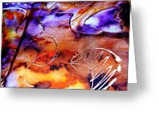 Indigo Brown Orange Yellow And Silver  Greeting Card by Alexandra Jordankova