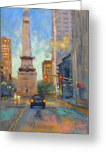 Indy Monument At Twilight Greeting Card by Donna Shortt