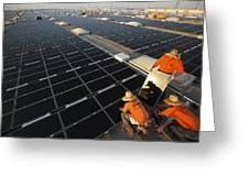 Installing Photovoltaic Panels Greeting Card by Michael Melford