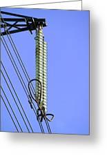 Insulators On An Electricity Pylon Greeting Card by Paul Rapson