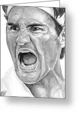 Intensity Federer Greeting Card by Tamir Barkan