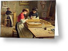 Interior Of A Frame Gilding Workshop Greeting Card by Louis Emile Adan