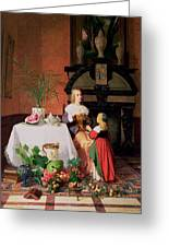 Interior With Figures And Fruit Greeting Card by David Emil Joseph de Noter