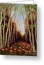 Into The Woods-poppies Greeting Card by Vic  Mastis