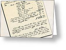 Invoice Of A Sale Of Black Slaves Greeting Card by Photo Researchers