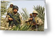 Iraqi Soldiers Conduct A Foot Patrol Greeting Card by Stocktrek Images