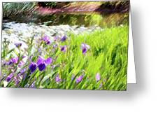 Iris and Water Greeting Card by Linde Townsend