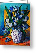 Irises Greeting Card by Mona Edulesco