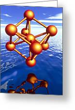 Iron Molecule Over Water Greeting Card by Pasieka