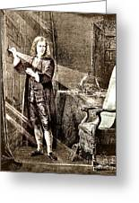 Isaac Newton Ray Of Light Greeting Card by Science Source