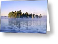 Island in lake with morning fog Greeting Card by Elena Elisseeva