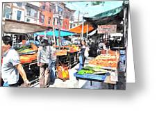Italian Market Greeting Card by Andrew Dinh
