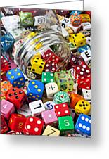 Jar Spilling Dice Greeting Card by Garry Gay