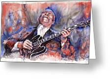 Jazz B B King 05 Red A Greeting Card by Yuriy  Shevchuk