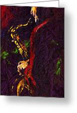 Jazz Red Saxophonist Greeting Card by Yuriy  Shevchuk