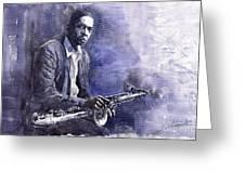 Jazz Saxophonist John Coltrane 03 Greeting Card by Yuriy  Shevchuk