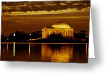 Jefferson Memorial - Panoramic Greeting Card by David Hahn
