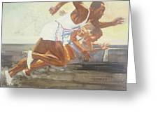 Jesse Owens 1936 Olympics Greeting Card by Chuck Hamrick