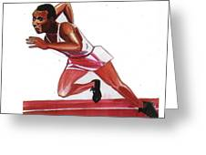 Jesse Owens Greeting Card by Emmanuel Baliyanga