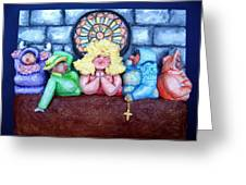 Jesus Save Us. The Devil Has Come To Church Greeting Card by Alison  Galvan