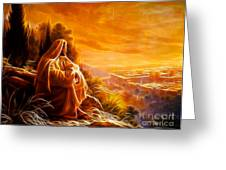 Jesus Thinking About People Greeting Card by Pamela Johnson