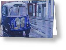 Jitney Ride In The Rain Greeting Card by Suzn Smith