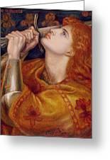 Joan Of Arc Greeting Card by Dante Charles Gabriel Rossetti