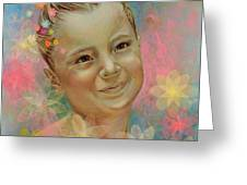 Joana's Portrait Greeting Card by Karina Llergo