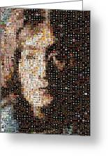 John Lennon Beatles Albums Mosaic Greeting Card by Paul Van Scott