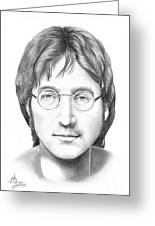 John Lennon Greeting Card by Murphy Elliott