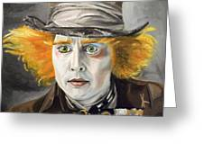 Johnny Depp - The Mad Hatter Greeting Card by Ina Schulz