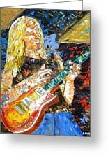 Johnny Winter Greeting Card by John Barney