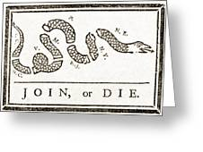 Join Or Die French And Indian War Greeting Card by Photo Researchers