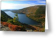 Jordan Pond In Autumn From North Bubble Acadia National Park Greeting Card by John Burk